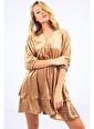 Emjey Kruvaze Yaka Çift Pileli Elbise Altın